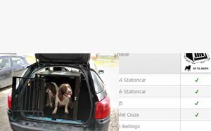 Översikt över bilar och hundburar