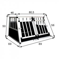 SafeCrate Double Small PREMIUM - Hundbur med 2 dörrar - möjlighet för skiljevägg (2:a Generation)
